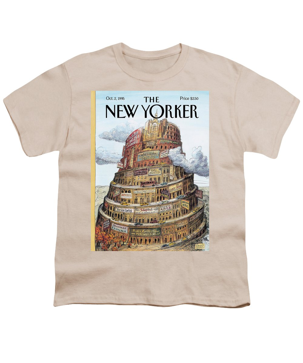I Love Babel Youth T-Shirt featuring the painting New Yorker October 2nd, 1995 by Edward Sorel