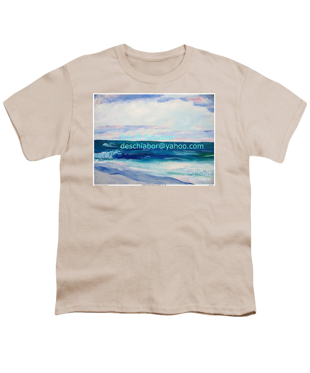 Floral Youth T-Shirt featuring the painting Ocean Assateague Virginia by Eric Schiabor