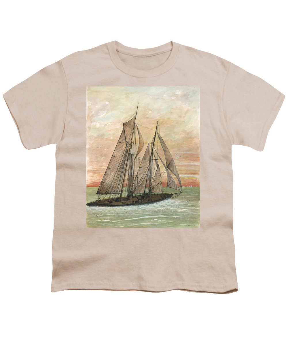 Sailboat; Ocean; Sunset Youth T-Shirt featuring the painting Out To Sea by Ben Kiger
