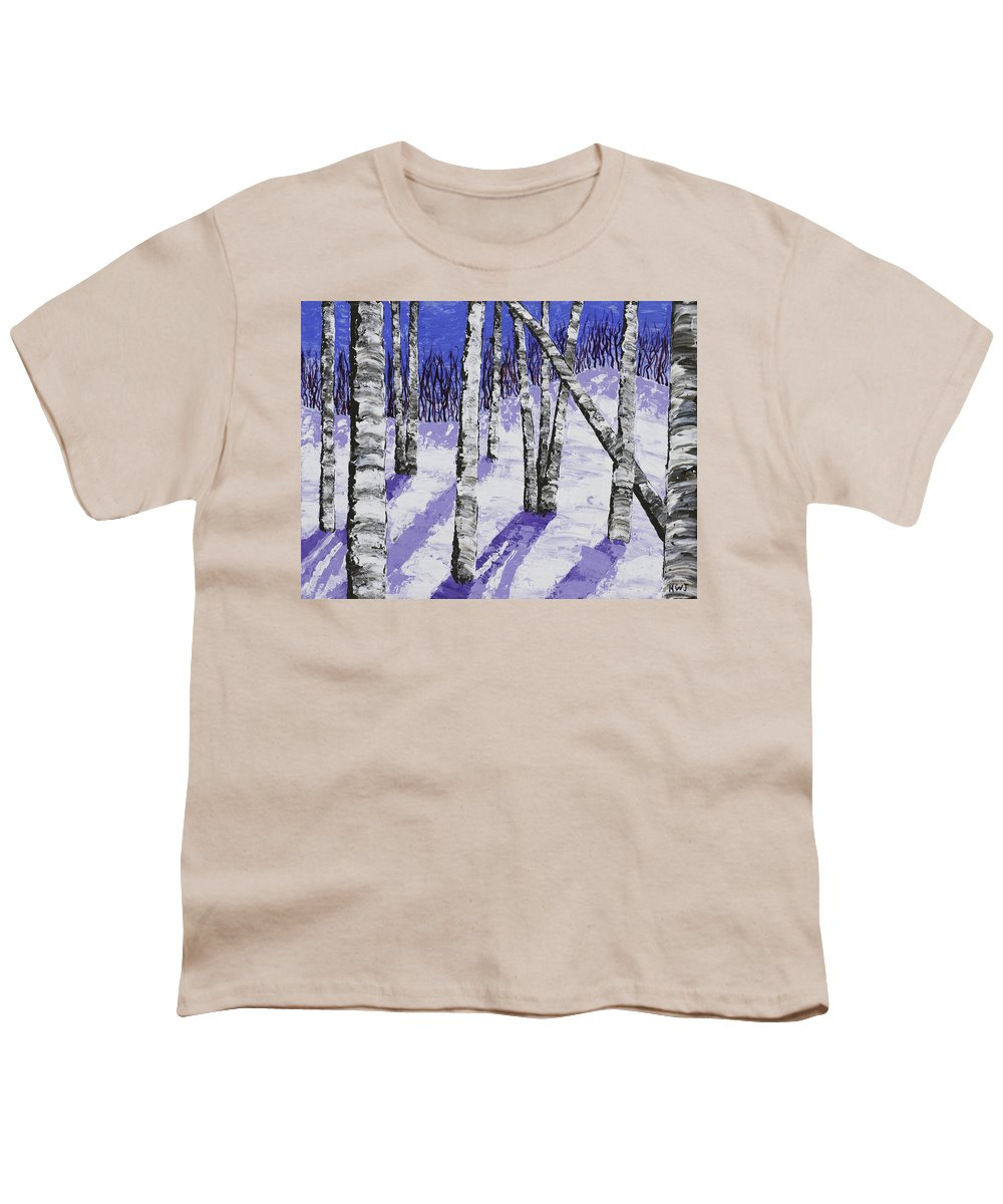 7b7e8038 Painting Of White Birch Trees In Winter Youth T-Shirt for Sale by Keith  Webber Jr