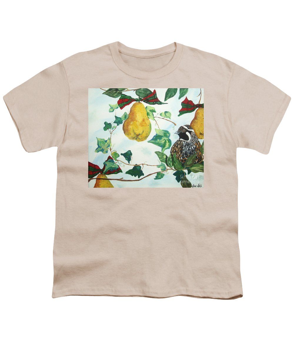 Tree Youth T-Shirt featuring the painting Partridge And Pears by Reina Resto