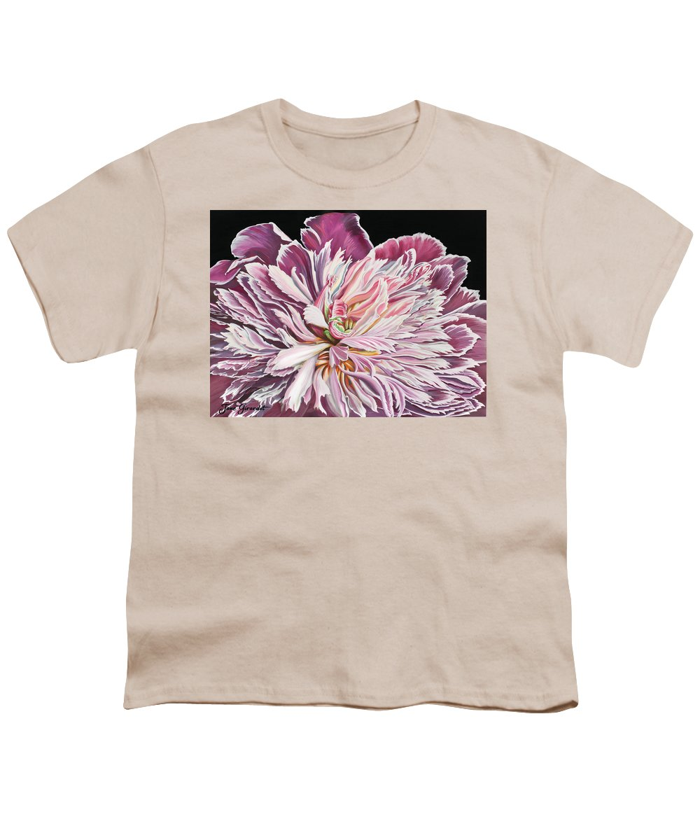 Flower Youth T-Shirt featuring the painting Pink Peony by Jane Girardot