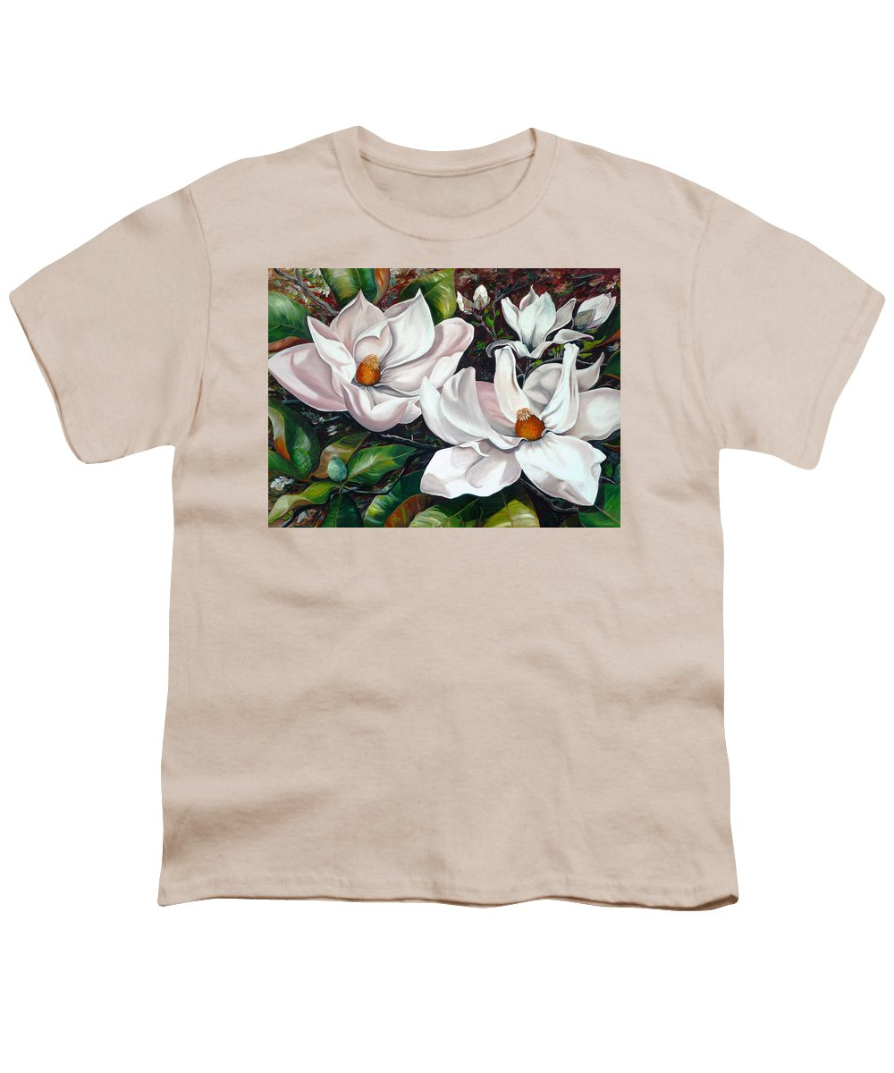 Magnolia Painting Flower Painting Botanical Painting Floral Painting Botanical Bloom Magnolia Flower White Flower Greeting Card Painting Youth T-Shirt featuring the painting Scent Of The South. by Karin Dawn Kelshall- Best