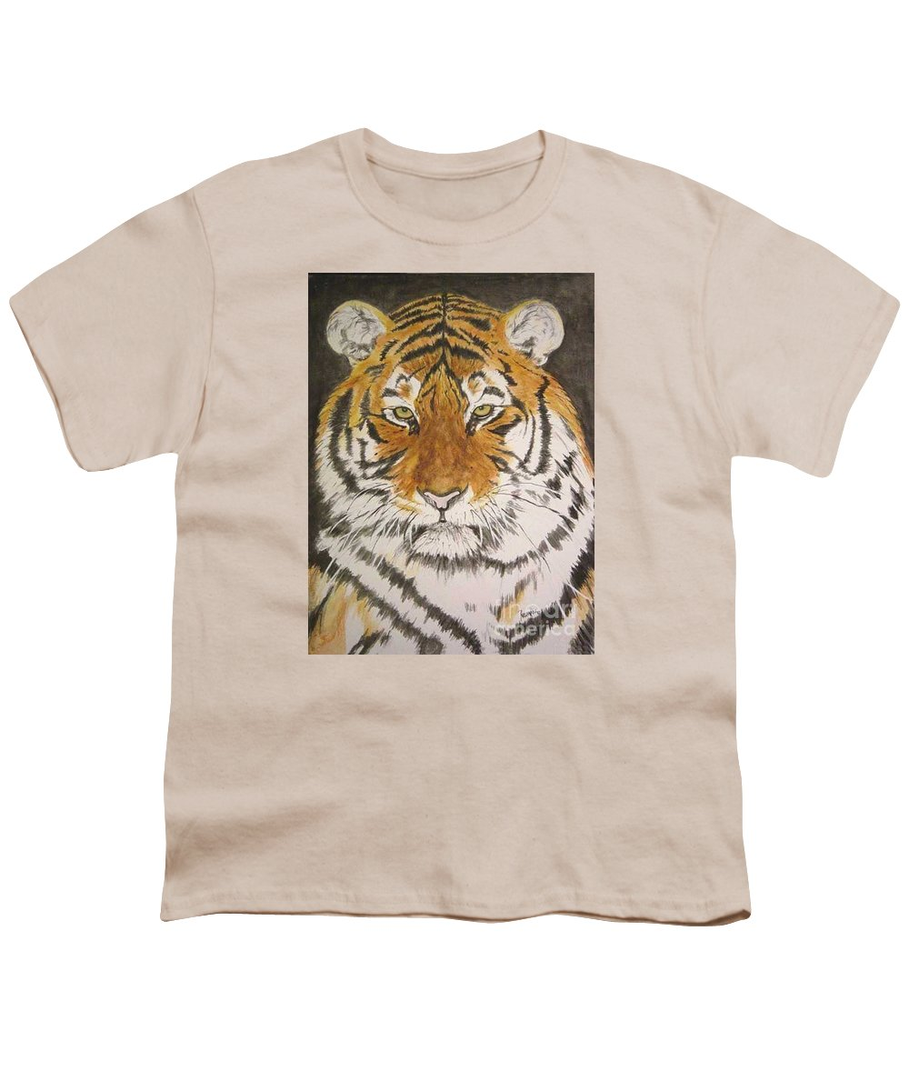 Siberian Tiger Youth T-Shirt featuring the painting Siberian Tiger by Regan J Smith