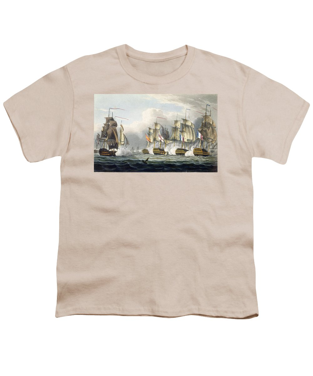 Naval Youth T-Shirt featuring the painting Situation Of The Hms Bellerophon by Thomas Whitcombe