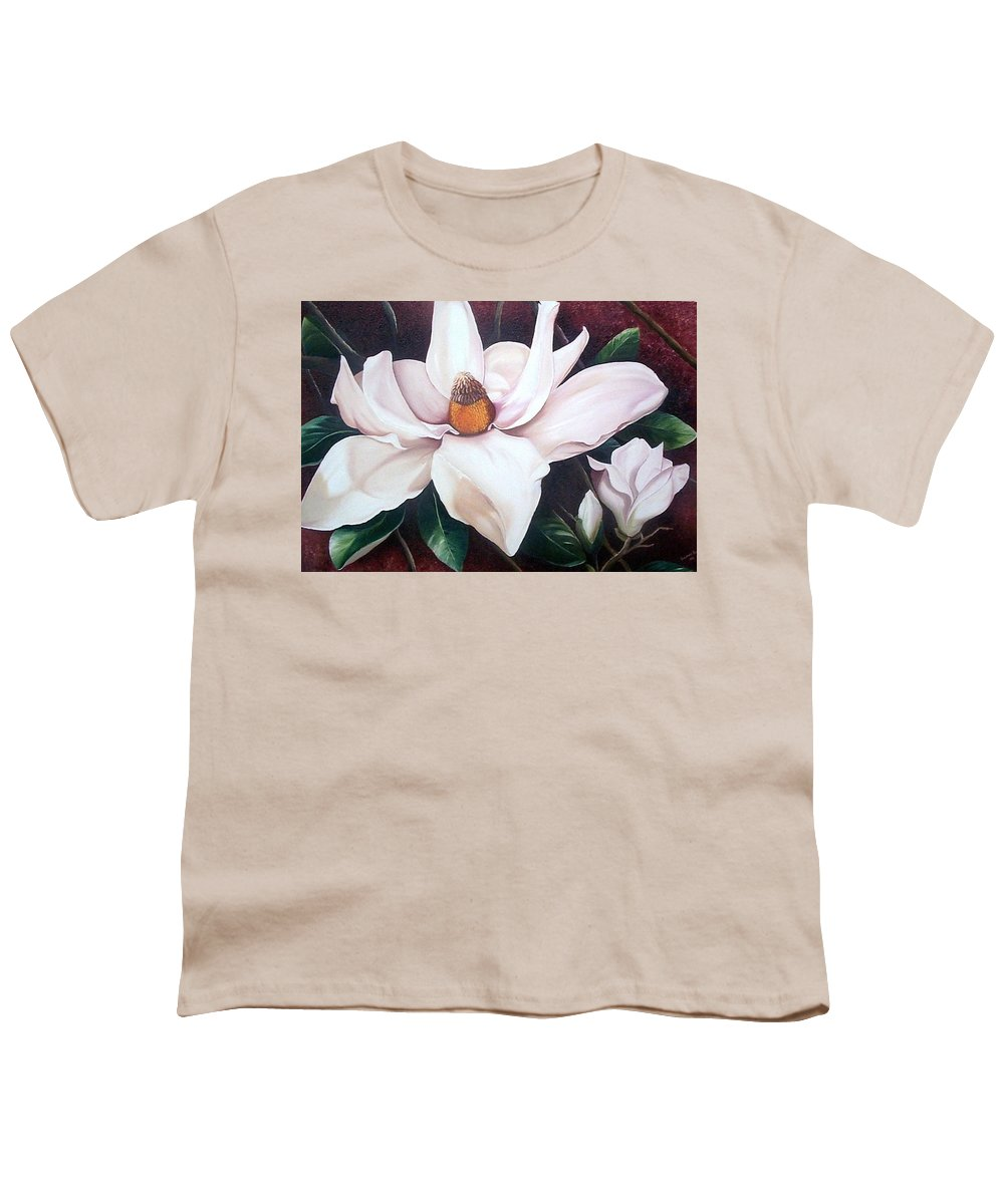 Magnolia Southern Bloom Floral Botanical White Youth T-Shirt featuring the painting Southern Beauty by Karin Dawn Kelshall- Best