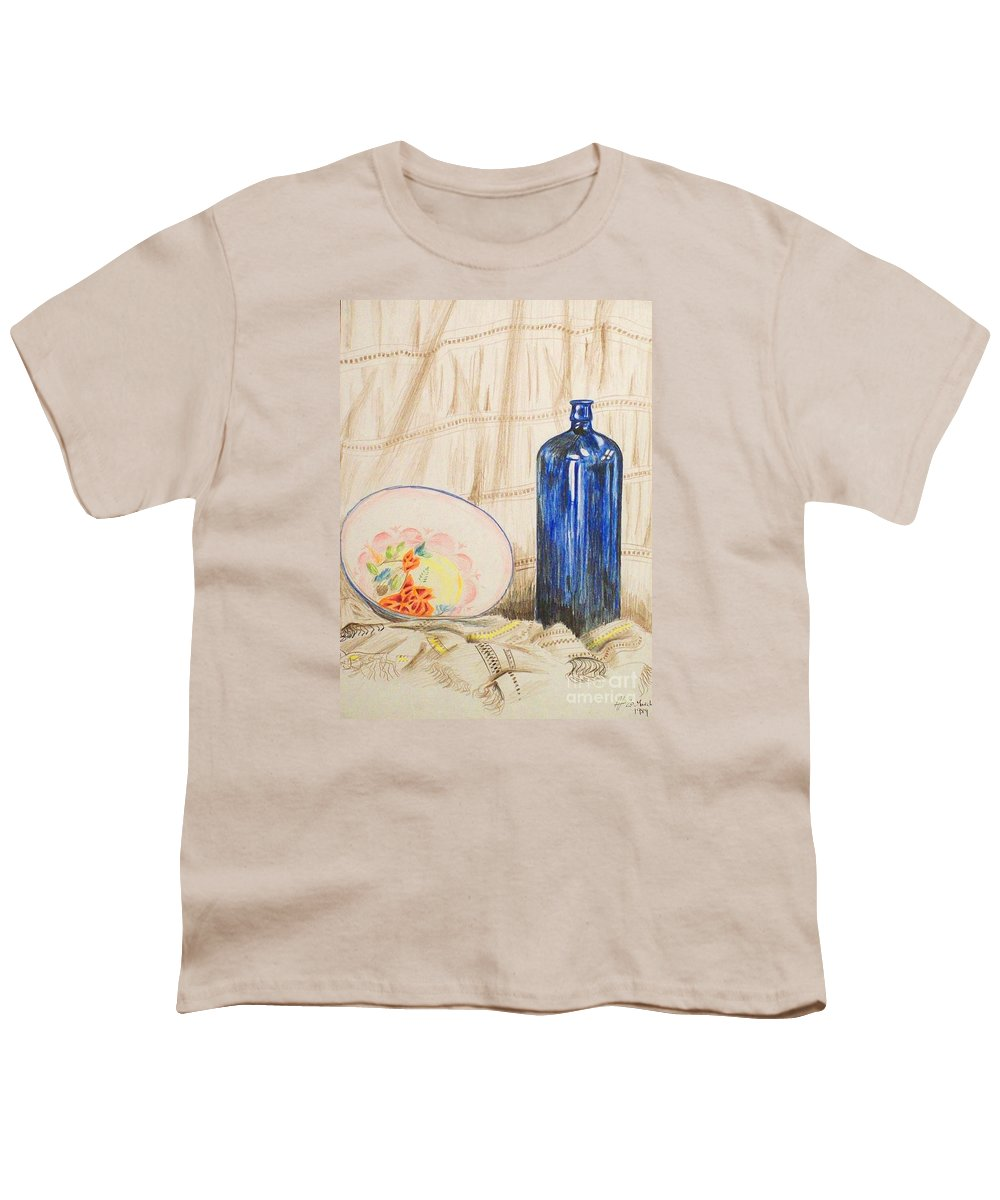 Still-life Youth T-Shirt featuring the drawing Still-life With Blue Bottle by Alan Hogan