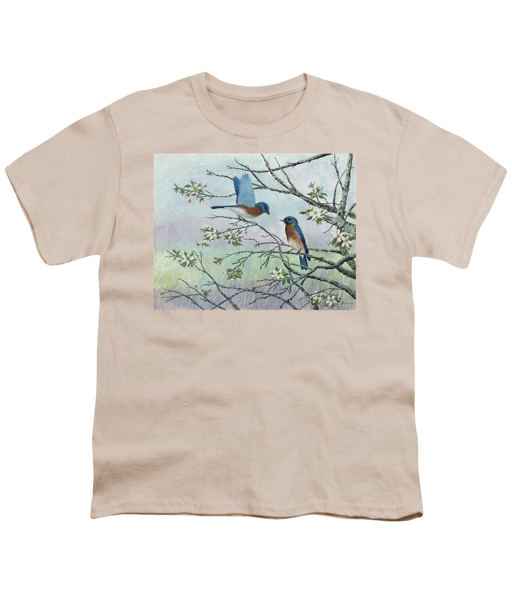 Bluebirds; Trees; Wildlife Youth T-Shirt featuring the painting The Gift by Ben Kiger