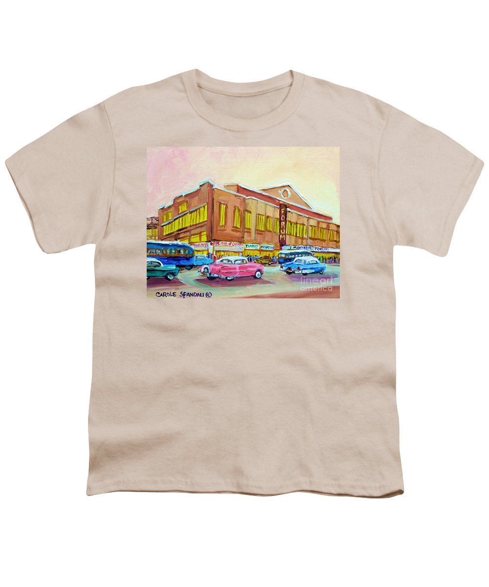 Montreal Youth T-Shirt featuring the painting The Montreal Forum by Carole Spandau