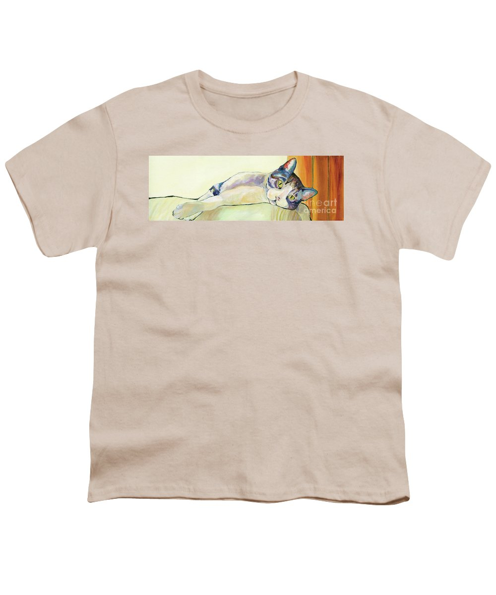 Pat Saunders-white Canvas Prints Youth T-Shirt featuring the painting The Sunbather by Pat Saunders-White