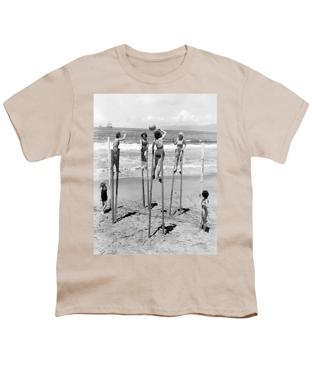 1930's Youth T-Shirt featuring the photograph Volleyball On Stilts by Underwood Archives