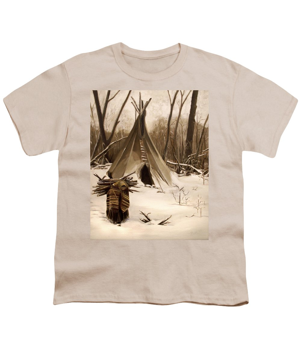 Native American Youth T-Shirt featuring the painting Wood Gatherer by Nancy Griswold