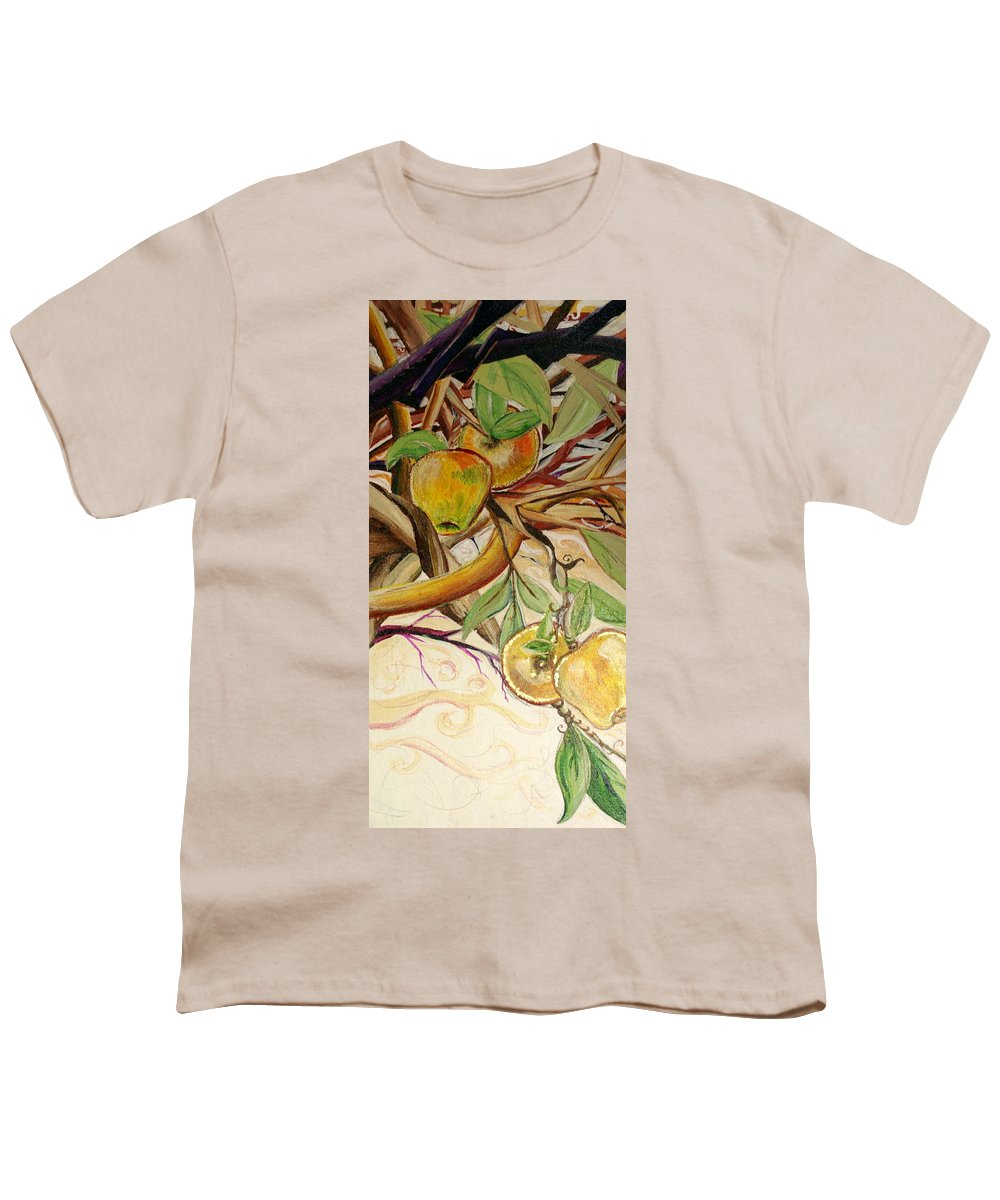 Apple Youth T-Shirt featuring the painting Fifth World Two by Kate Fortin