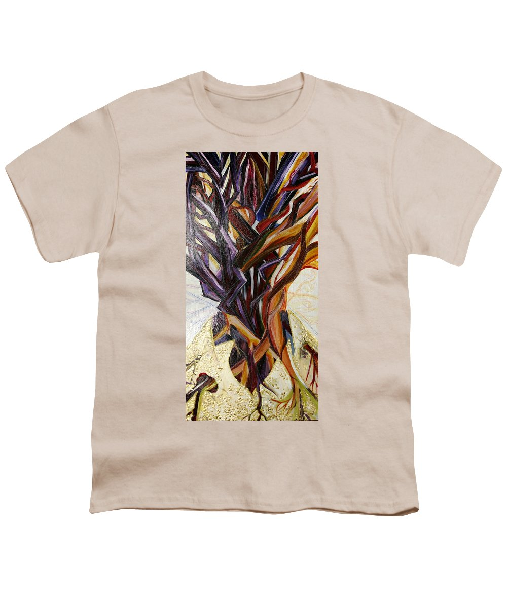 Apple Youth T-Shirt featuring the painting Fifth World Three by Kate Fortin