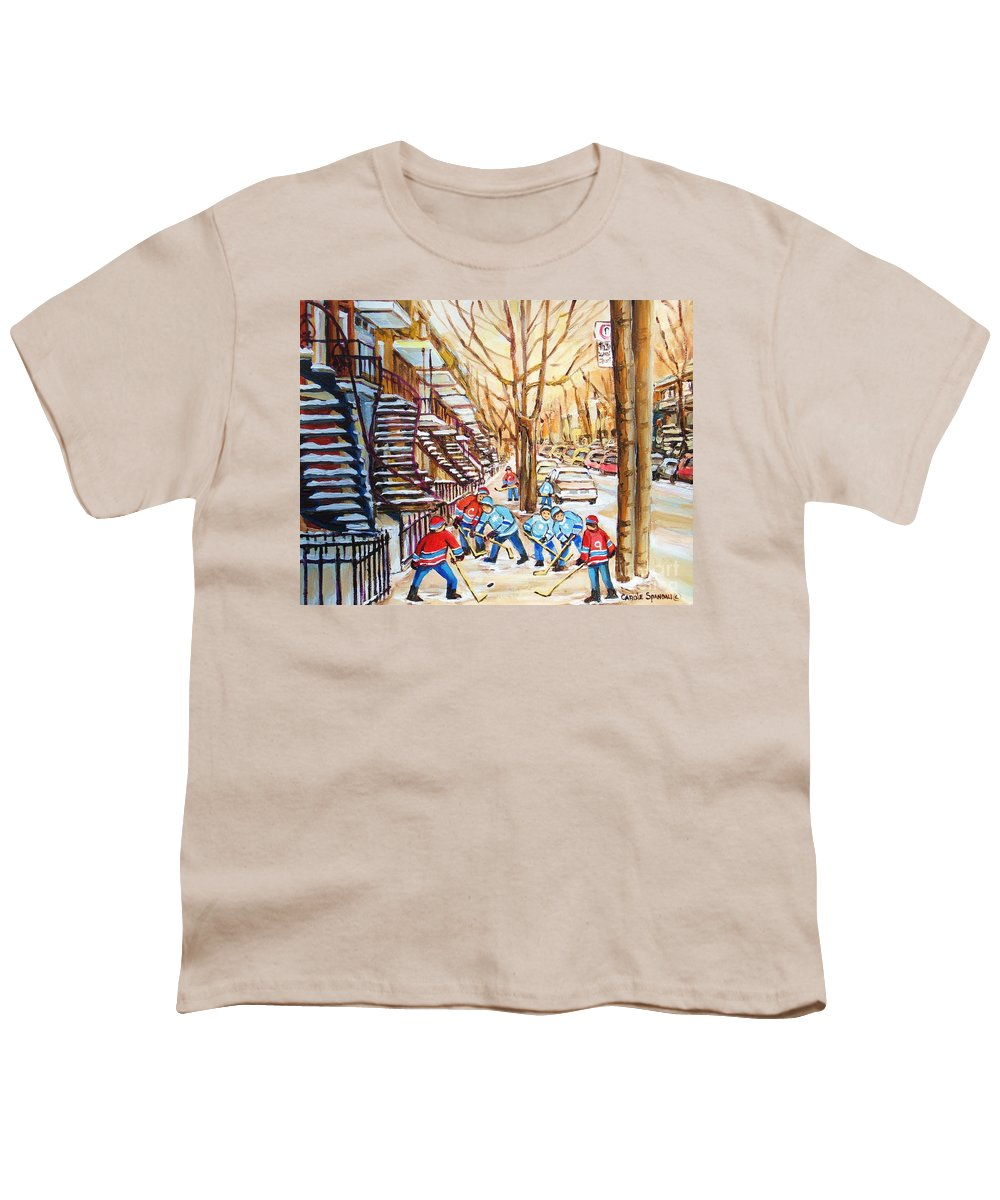 Montreal Youth T-Shirt featuring the painting Hockey Game Near Winding Staircases by Carole Spandau