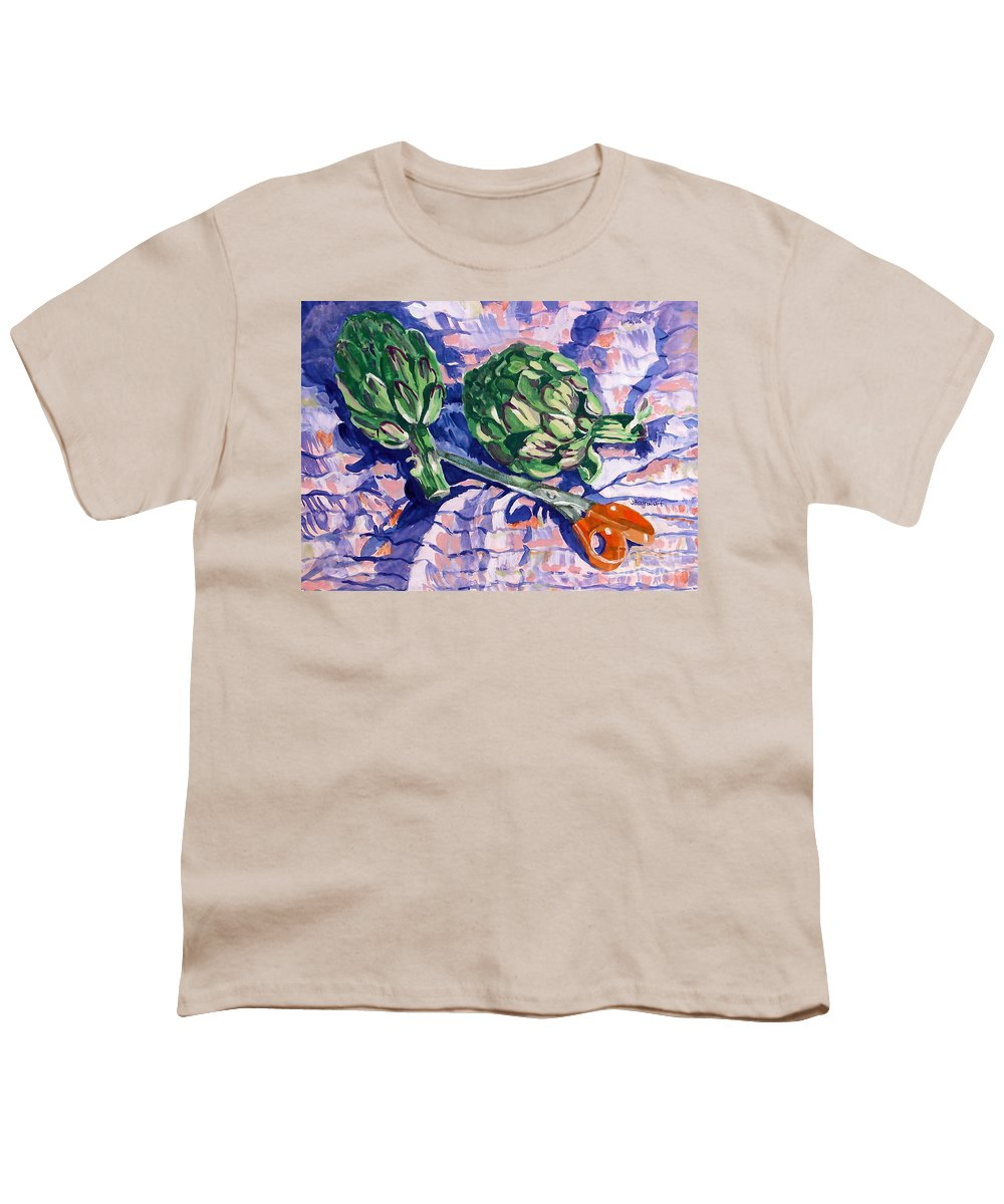 Greens Youth T-Shirt featuring the painting Edible Flowers by Jan Bennicoff