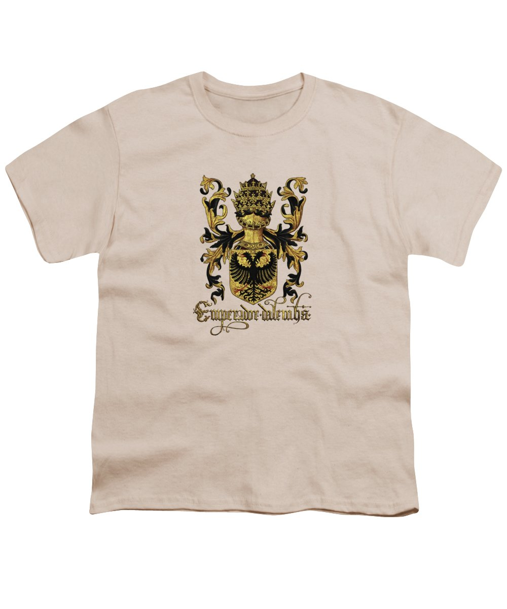 'roll Of Arms� Collection By Serge Averbukh Youth T-Shirt featuring the photograph Emperor Of Germany Coat Of Arms - Livro Do Armeiro-mor by Serge Averbukh