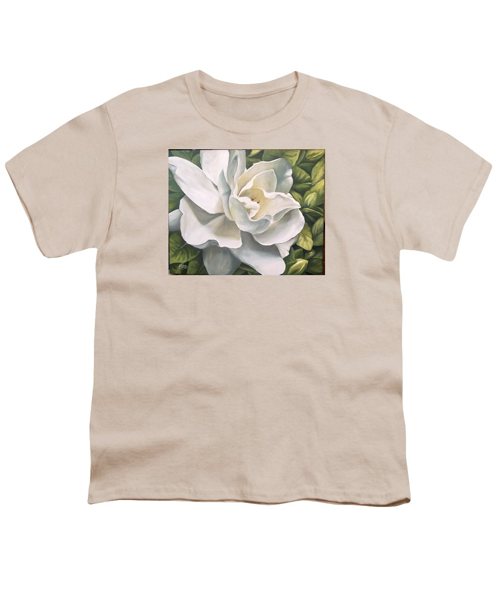 Flower Youth T-Shirt featuring the painting Gardenia by Natalia Tejera