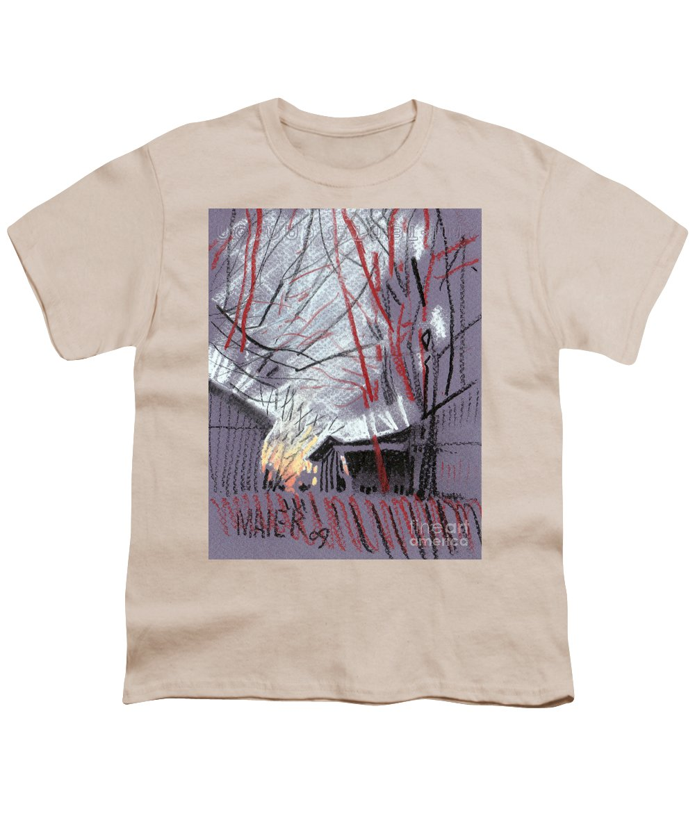Pastel Youth T-Shirt featuring the drawing Grey Evening by Donald Maier