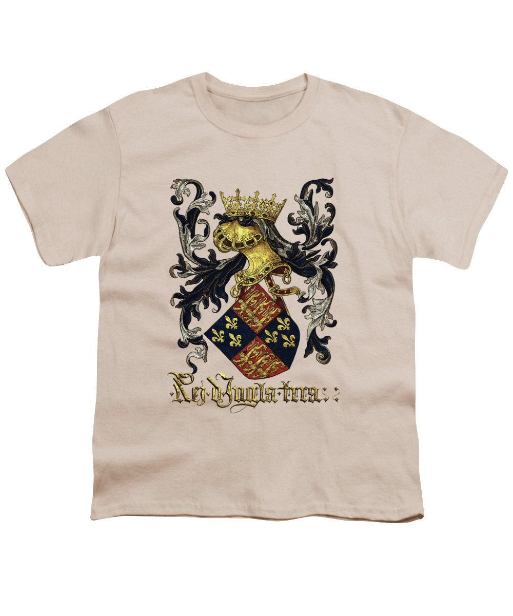'roll Of Arms� Collection By Serge Averbukh Youth T-Shirt featuring the photograph King Of England Coat Of Arms - Livro Do Armeiro-mor by Serge Averbukh