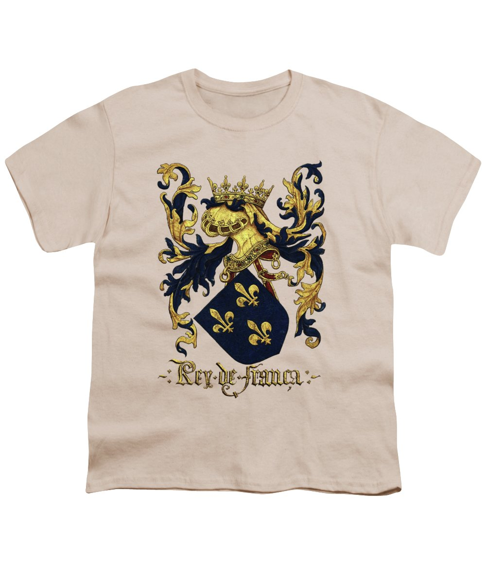 'roll Of Arms� Collection By Serge Averbukh Youth T-Shirt featuring the photograph King Of France Coat Of Arms - Livro Do Armeiro-mor by Serge Averbukh
