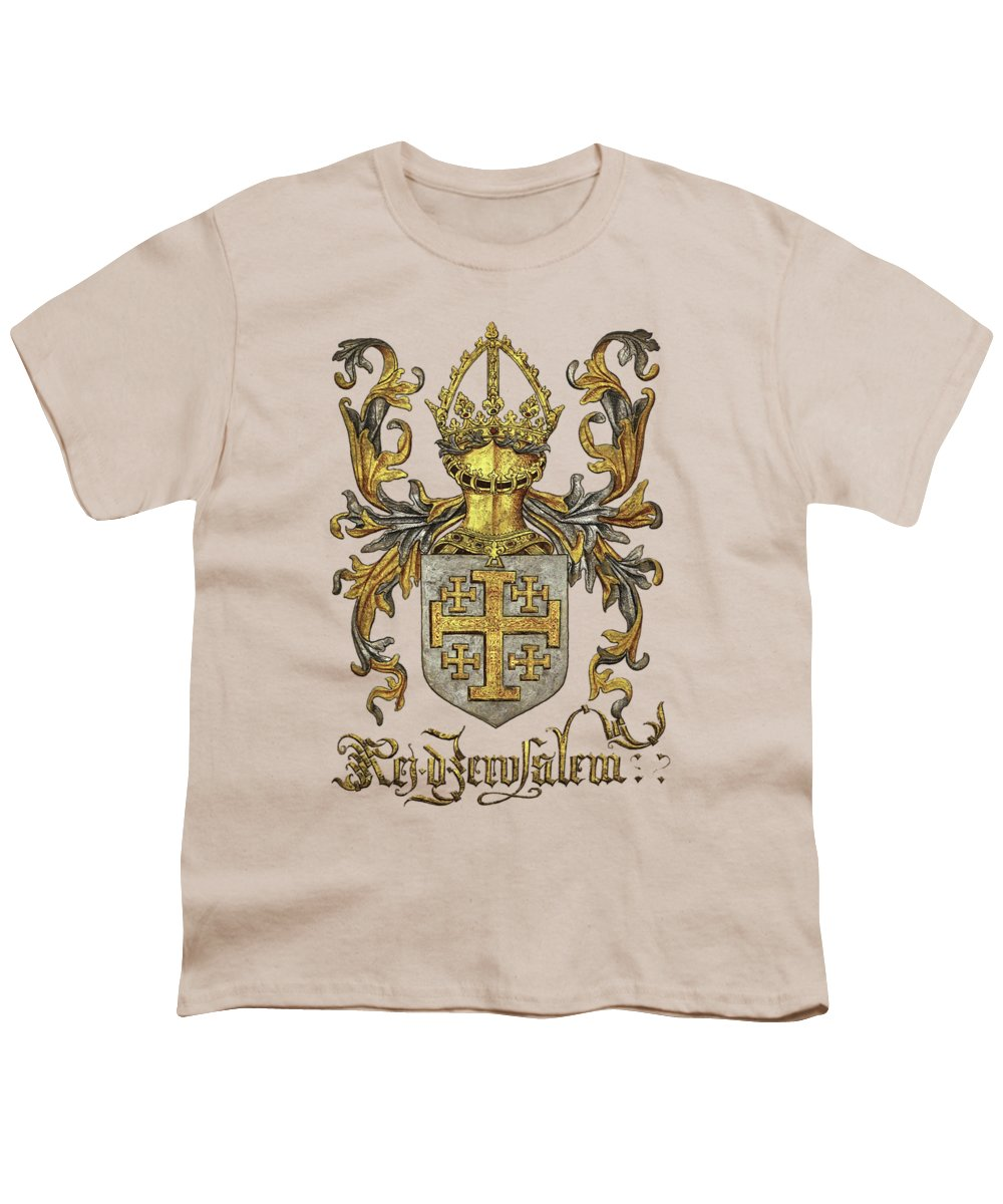 'roll Of Arms� Collection By Serge Averbukh Youth T-Shirt featuring the photograph Kingdom Of Jerusalem Coat Of Arms - Livro Do Armeiro-mor by Serge Averbukh