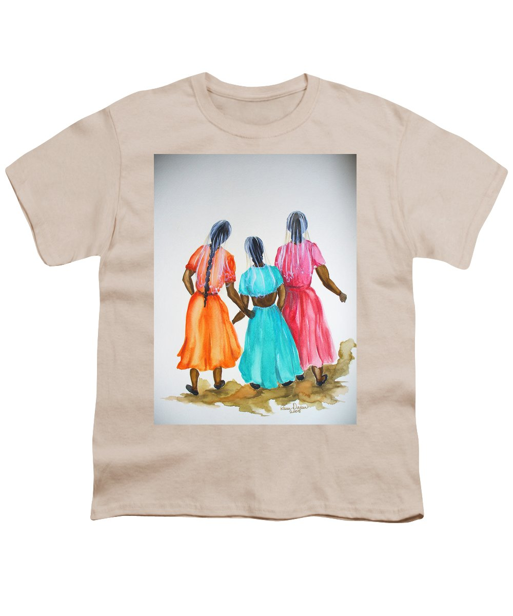 Three Ladies East Indian Youth T-Shirt featuring the painting 3bff by Karin Dawn Kelshall- Best