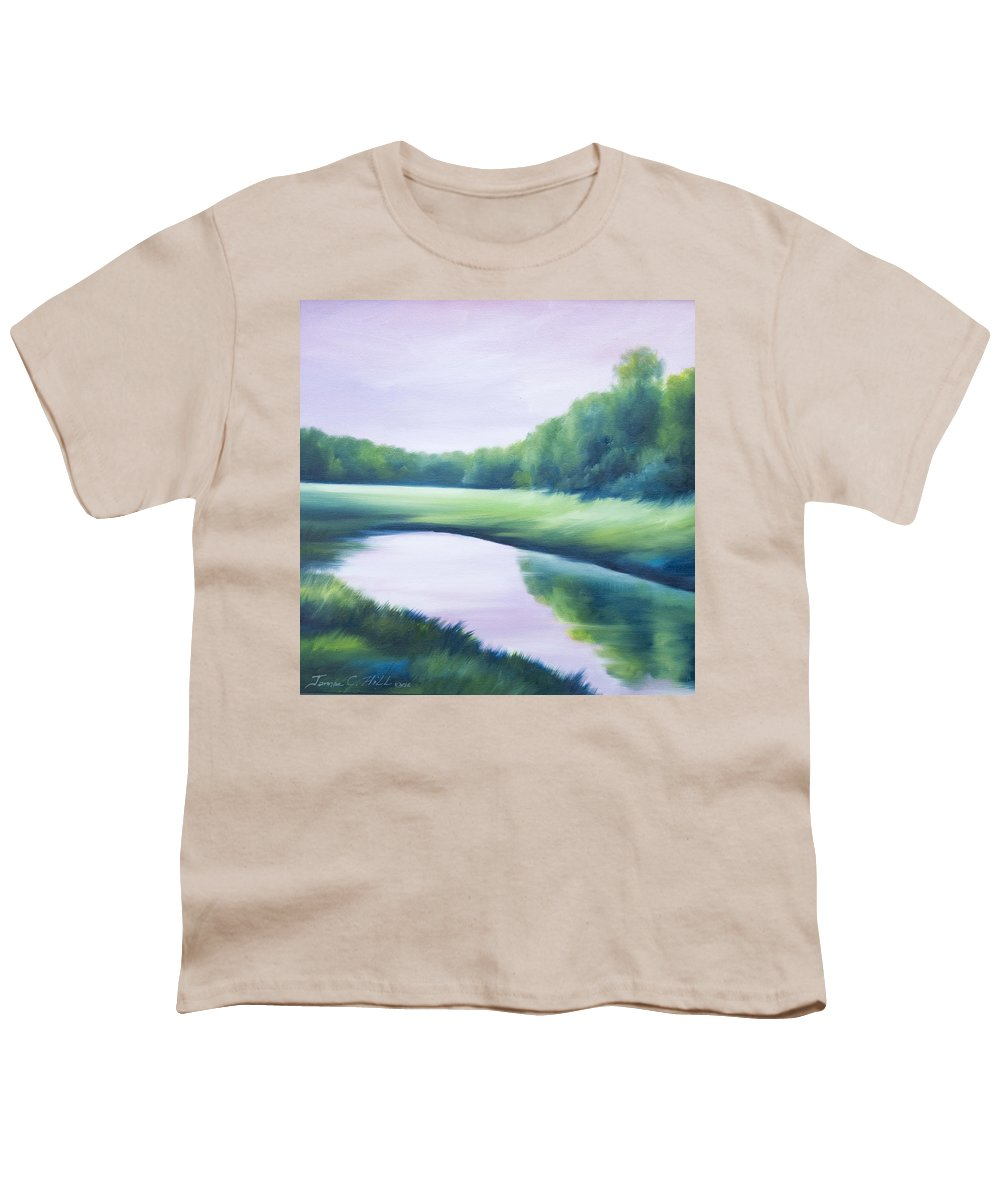 Nature; Lake; Sunset; Sunrise; Serene; Forest; Trees; Water; Ripples; Clearing; Lagoon; James Christopher Hill; Jameshillgallery.com; Foliage; Sky; Realism; Oils; Green; Tree; Blue; Pink; Pond; Lake Youth T-Shirt featuring the painting A Day In The Life 1 by James Christopher Hill