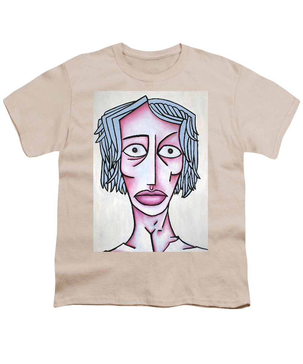 Potrait Youth T-Shirt featuring the painting amy by Thomas Valentine