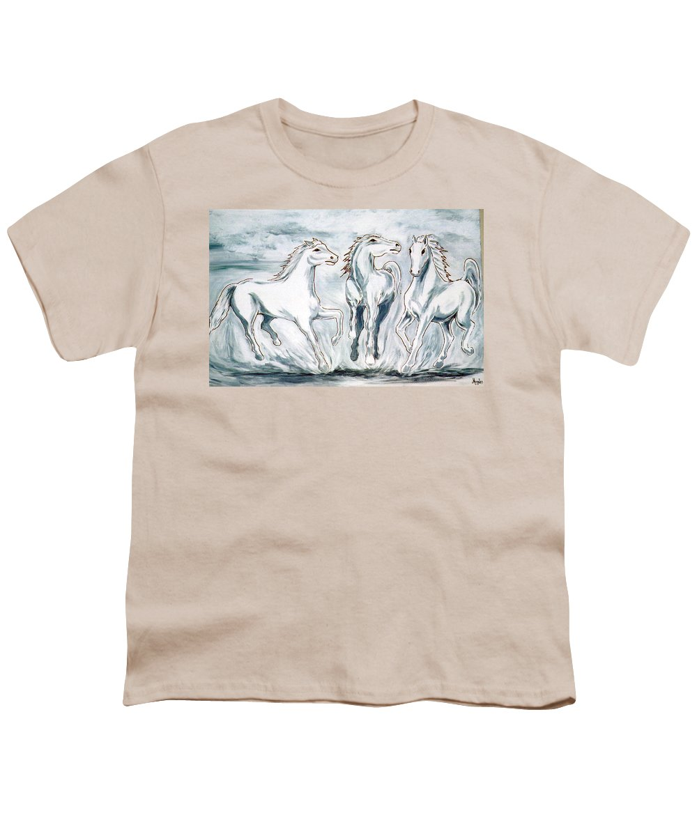 Horses Youth T-Shirt featuring the painting Arabian Roots by Marco Morales