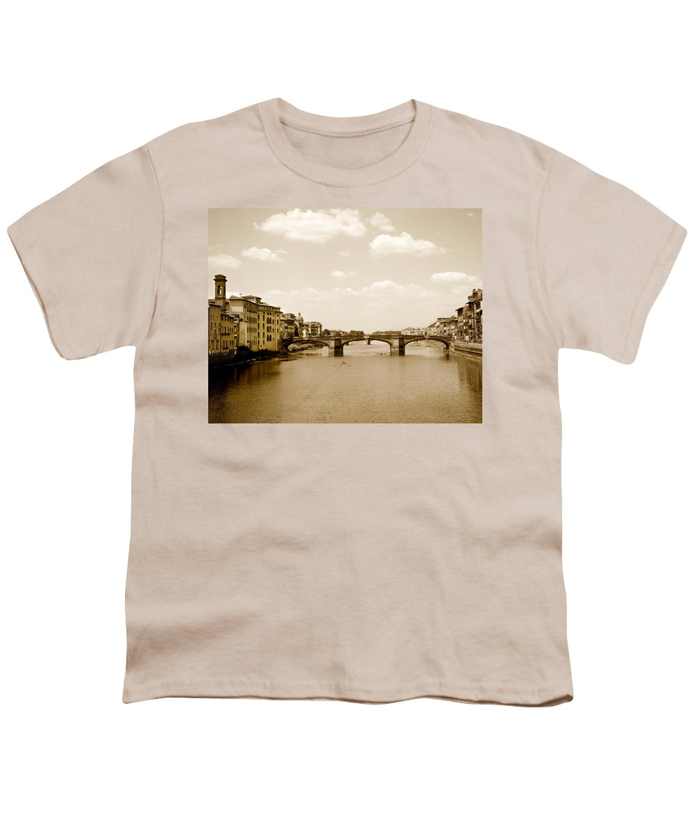 Italy Youth T-Shirt featuring the photograph Arno River Florence by Marilyn Hunt