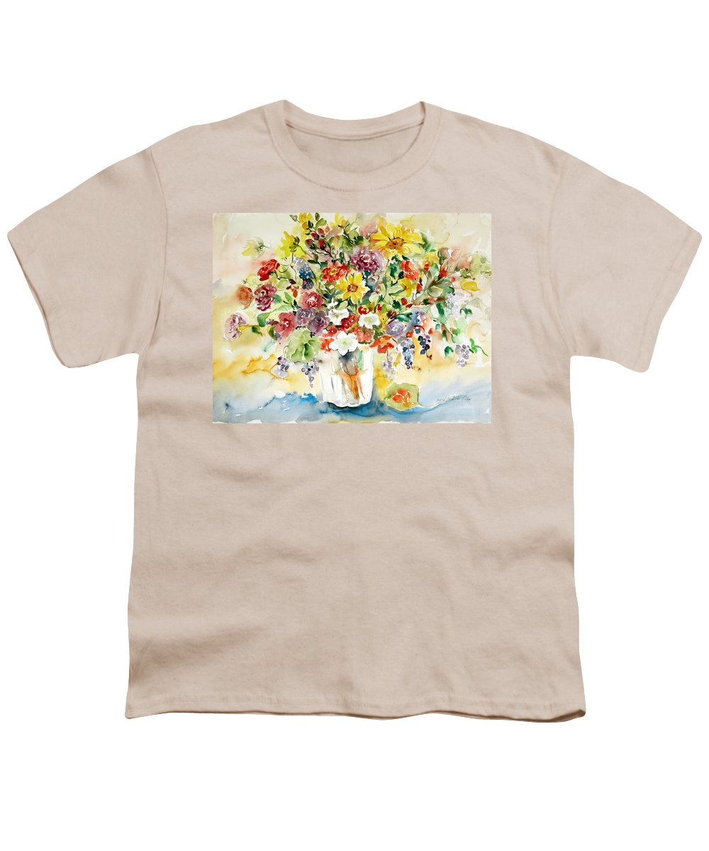 Watercolor Youth T-Shirt featuring the painting Arrangement IIi by Alexandra Maria Ethlyn Cheshire