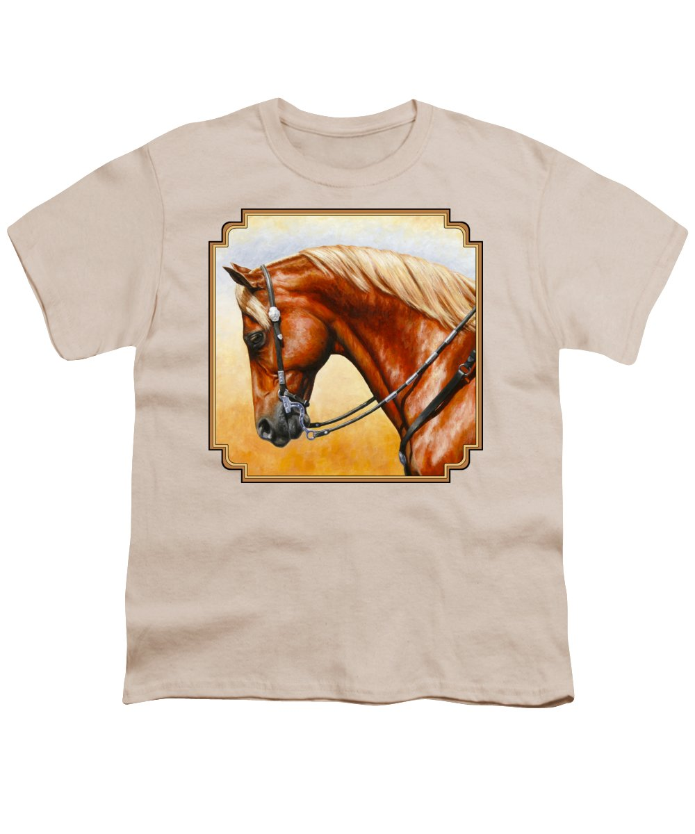Horse Youth T-Shirt featuring the painting Precision - Horse Painting by Crista Forest