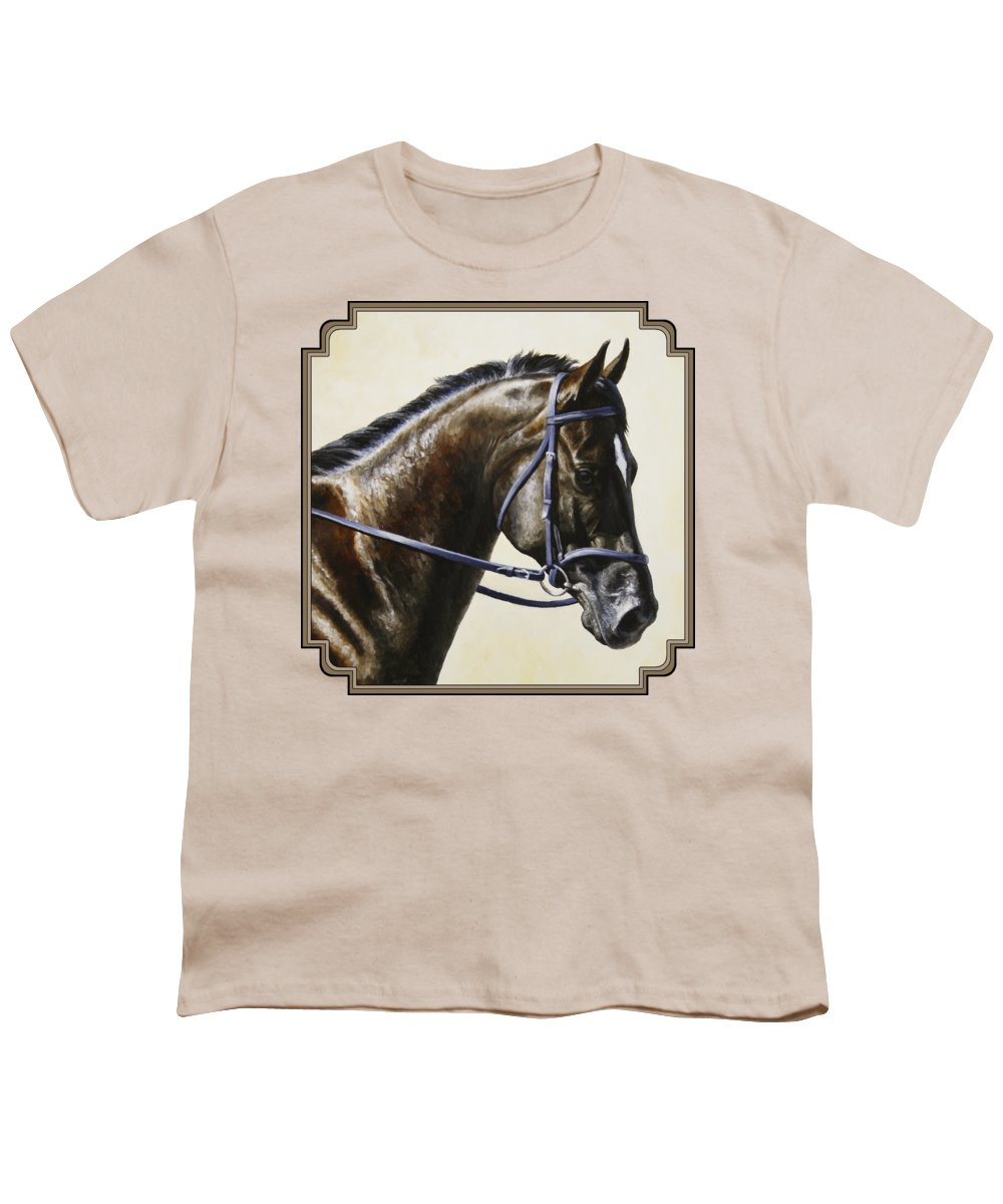 Horse Youth T-Shirt featuring the painting Dressage Horse - Concentration by Crista Forest