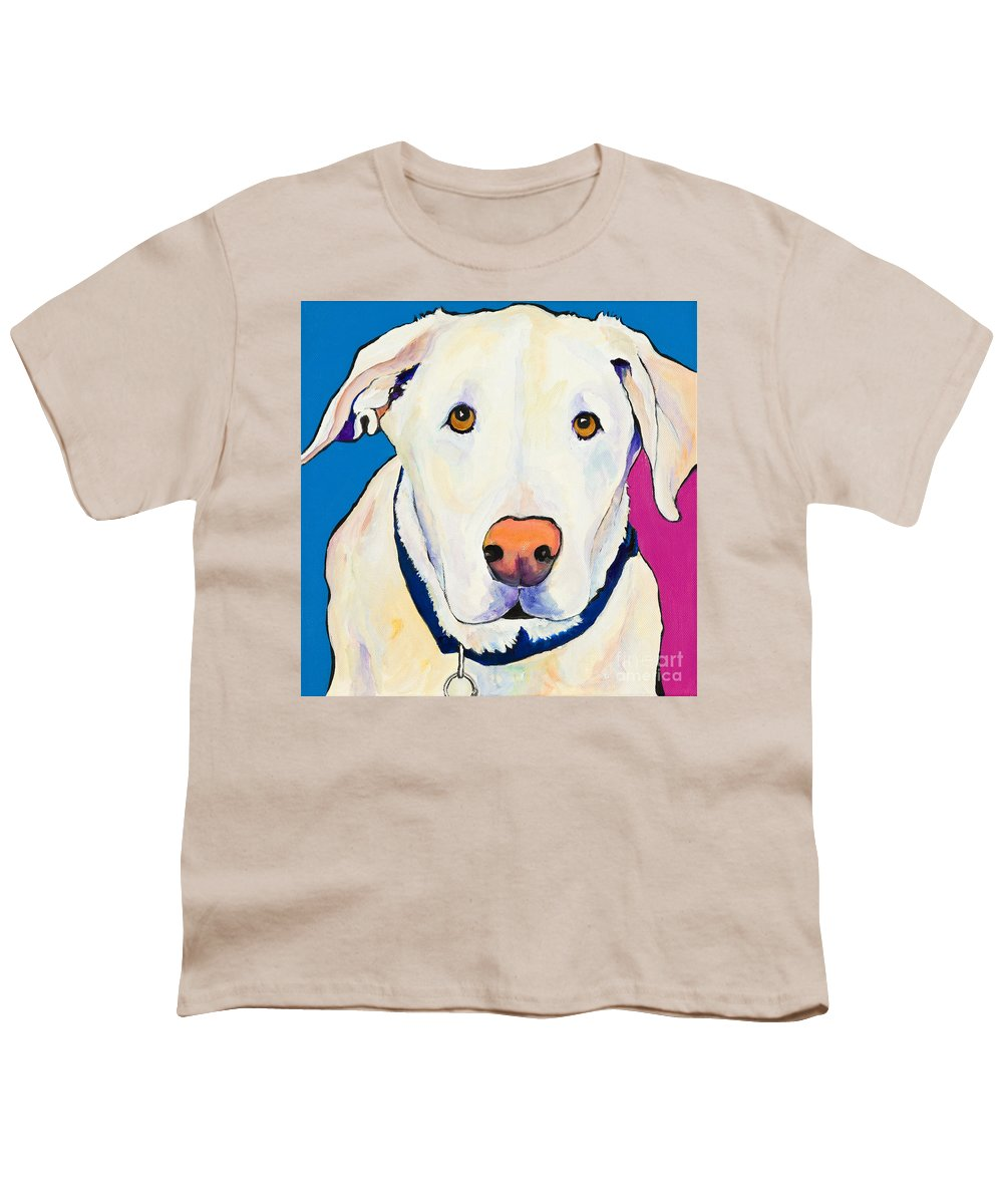 White Lab Yellow Lab Animal Paintings Golden Eyes Square Format Dogs Pets Rescued Youth T-Shirt featuring the painting Aslinn by Pat Saunders-White