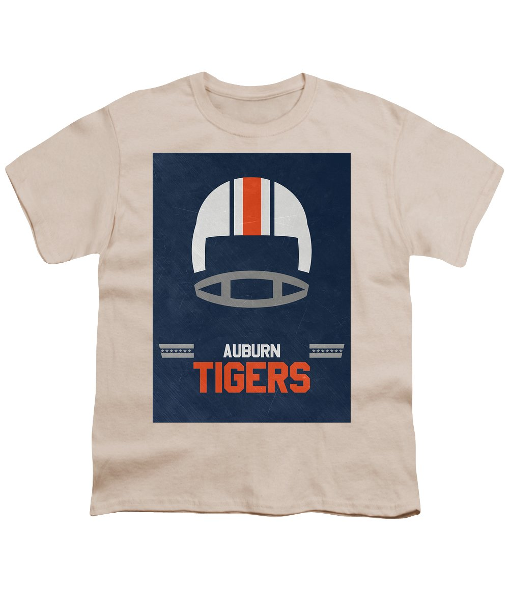 Tigers Youth T-Shirt featuring the mixed media Auburn Tigers Vintage Football Art by Joe Hamilton