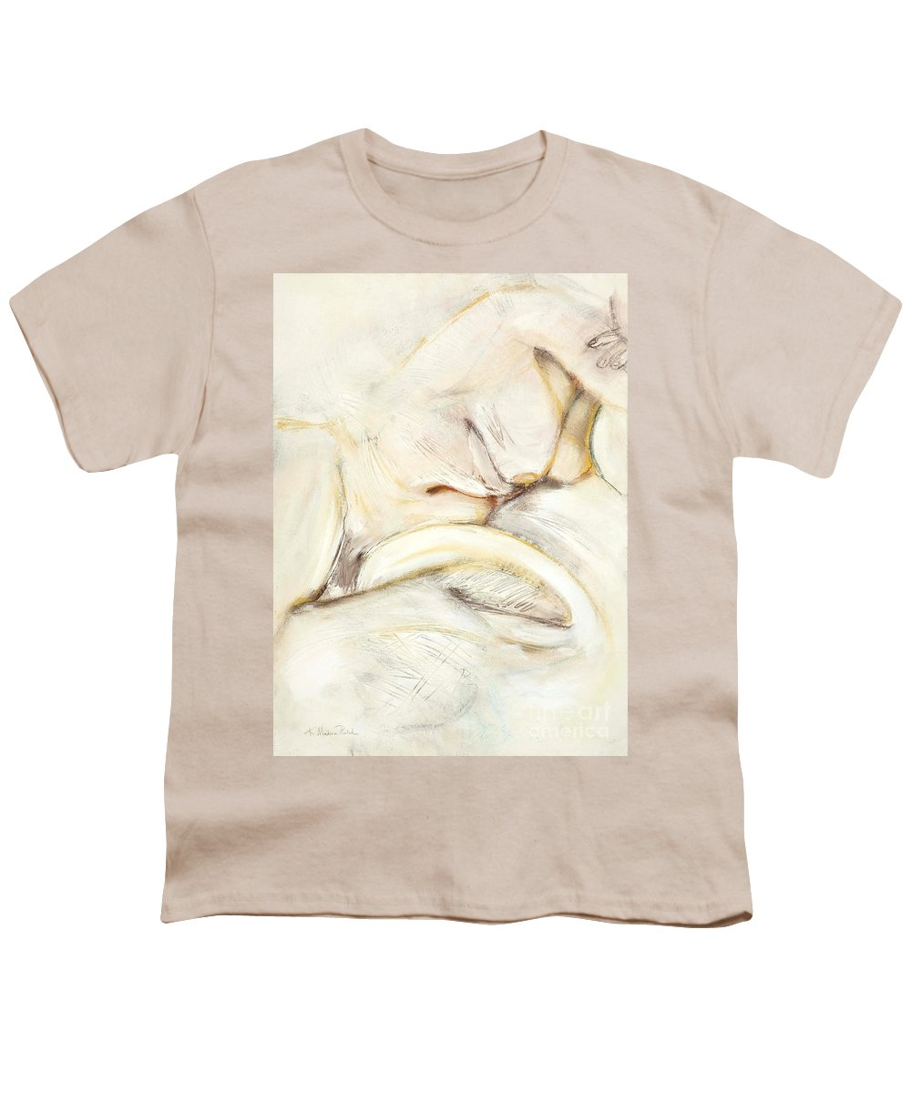 Female Youth T-Shirt featuring the drawing Award Winning Abstract Nude by Kerryn Madsen-Pietsch