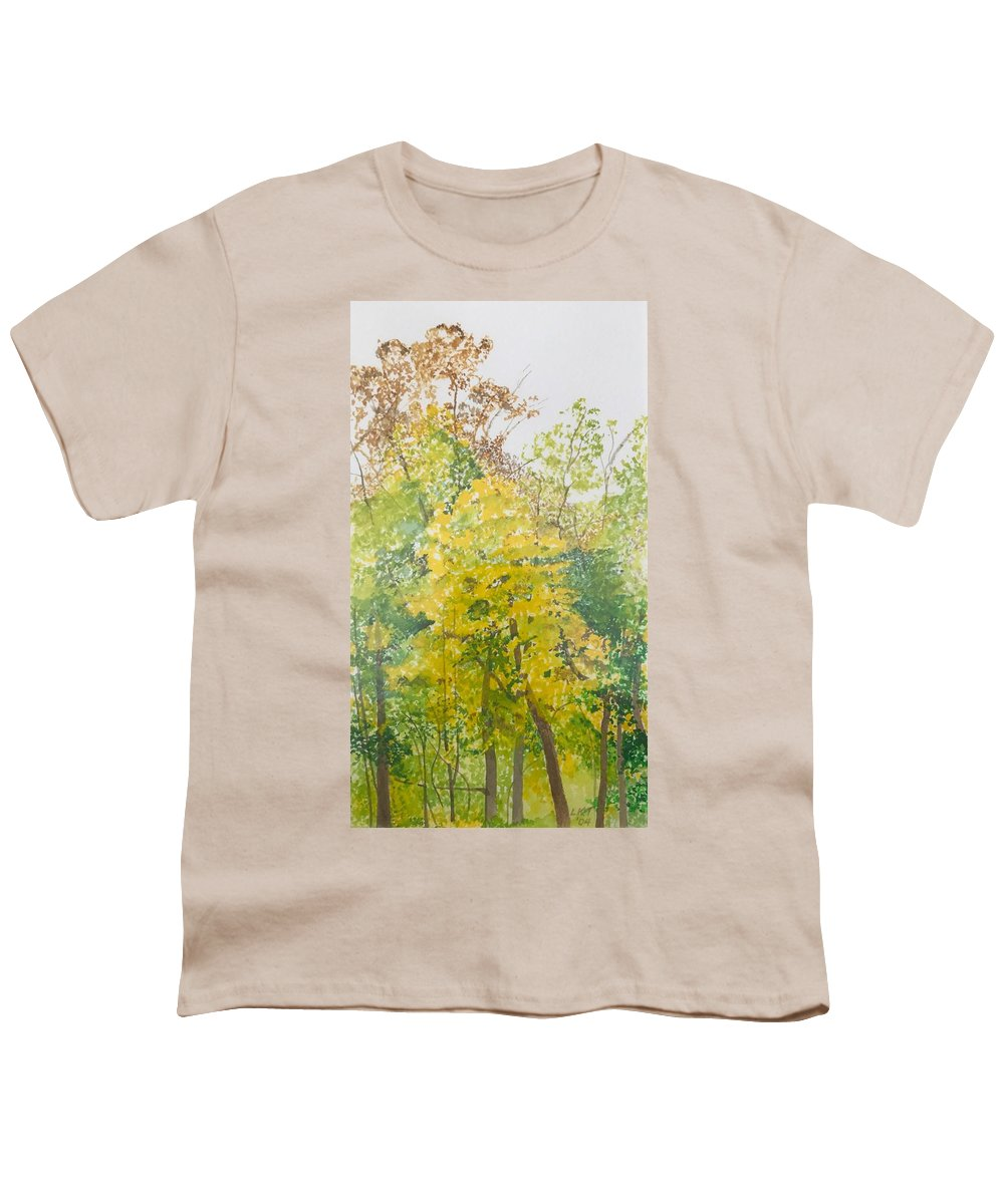 Autumn Youth T-Shirt featuring the painting Backyard by Leah Tomaino