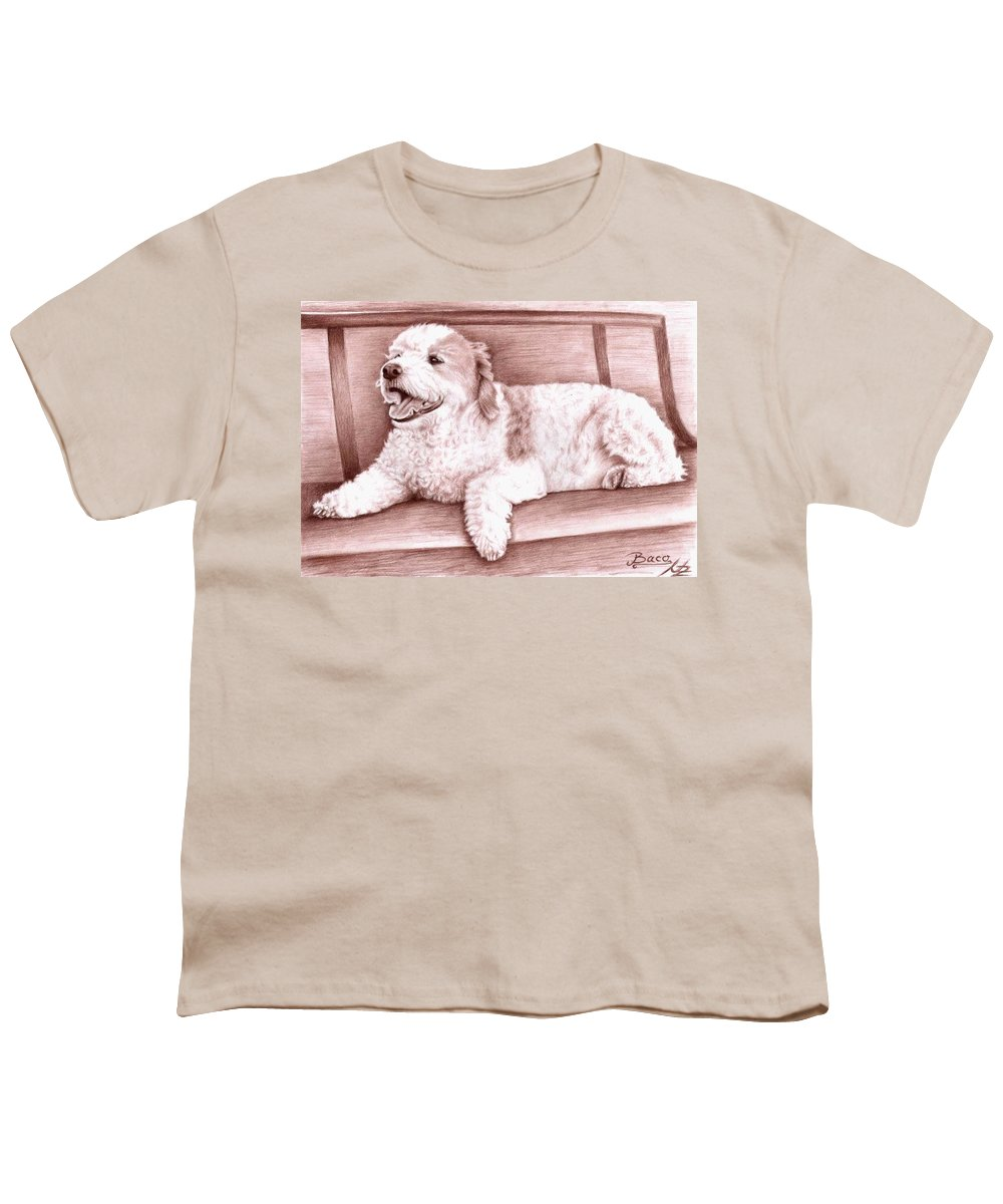 Dog Youth T-Shirt featuring the drawing Baco by Nicole Zeug