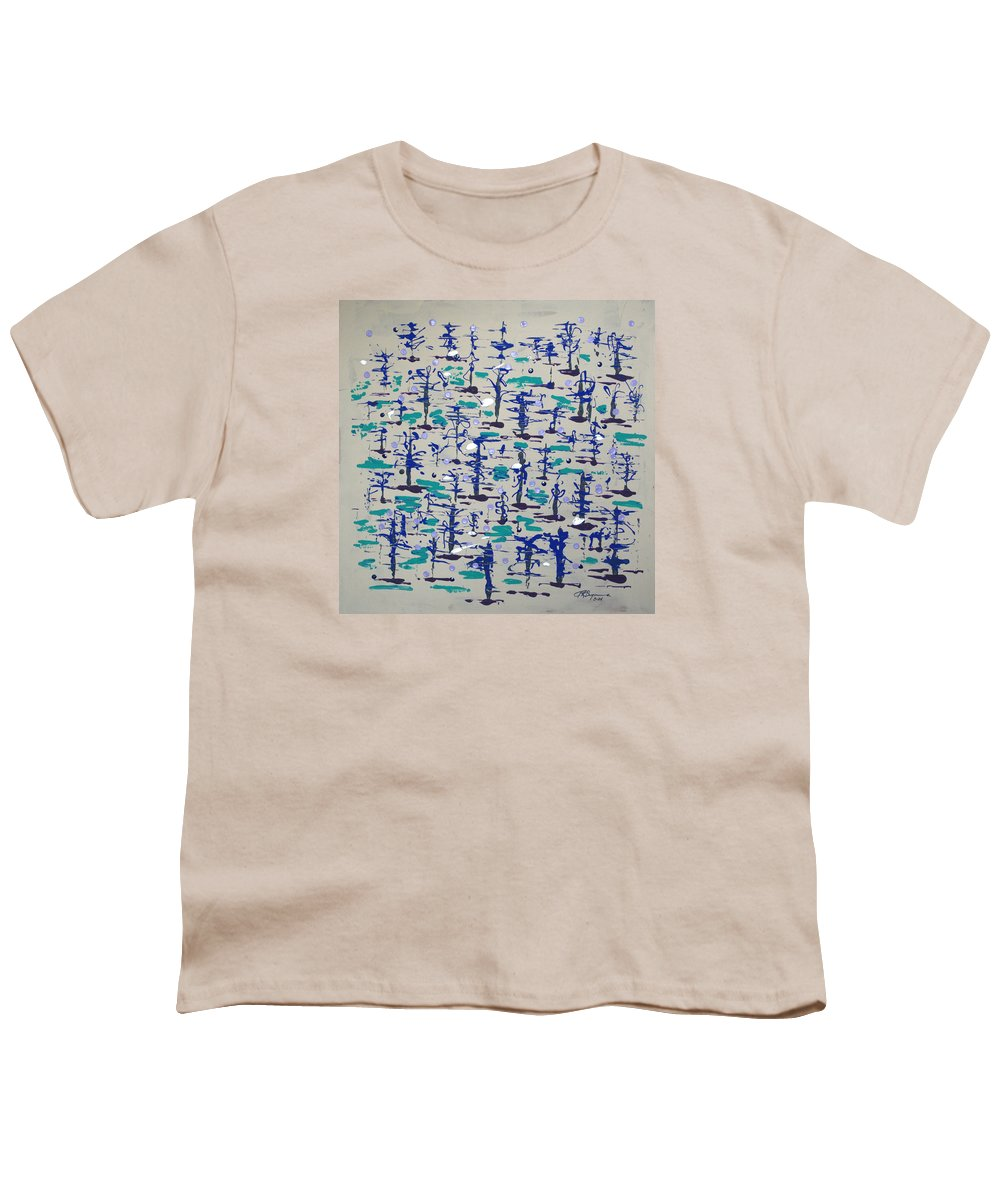 Abstract Youth T-Shirt featuring the painting Bare Trees by J R Seymour