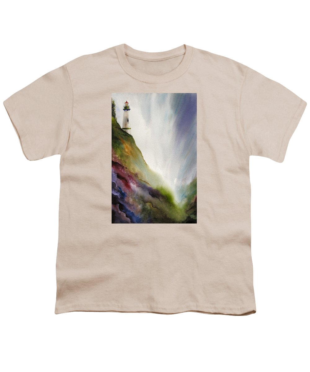 Lighthouse Youth T-Shirt featuring the painting Beacon by Karen Stark
