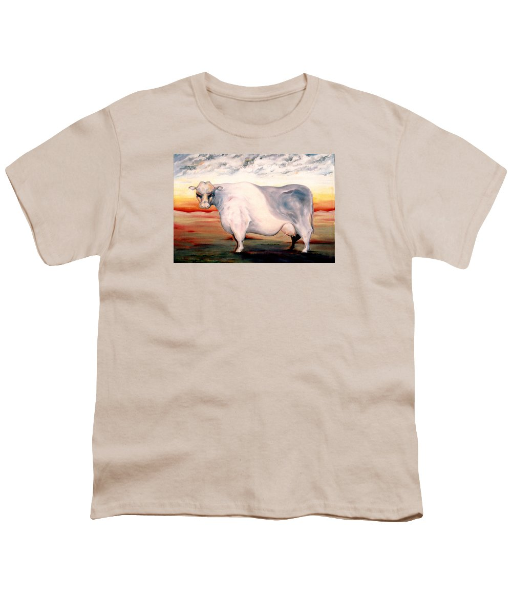 Cow Youth T-Shirt featuring the painting Beef Holocaust II by Mark Cawood