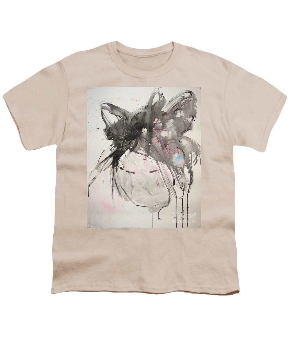 Black And White Paintings Youth T-Shirt featuring the painting Being Patient by Seon-Jeong Kim