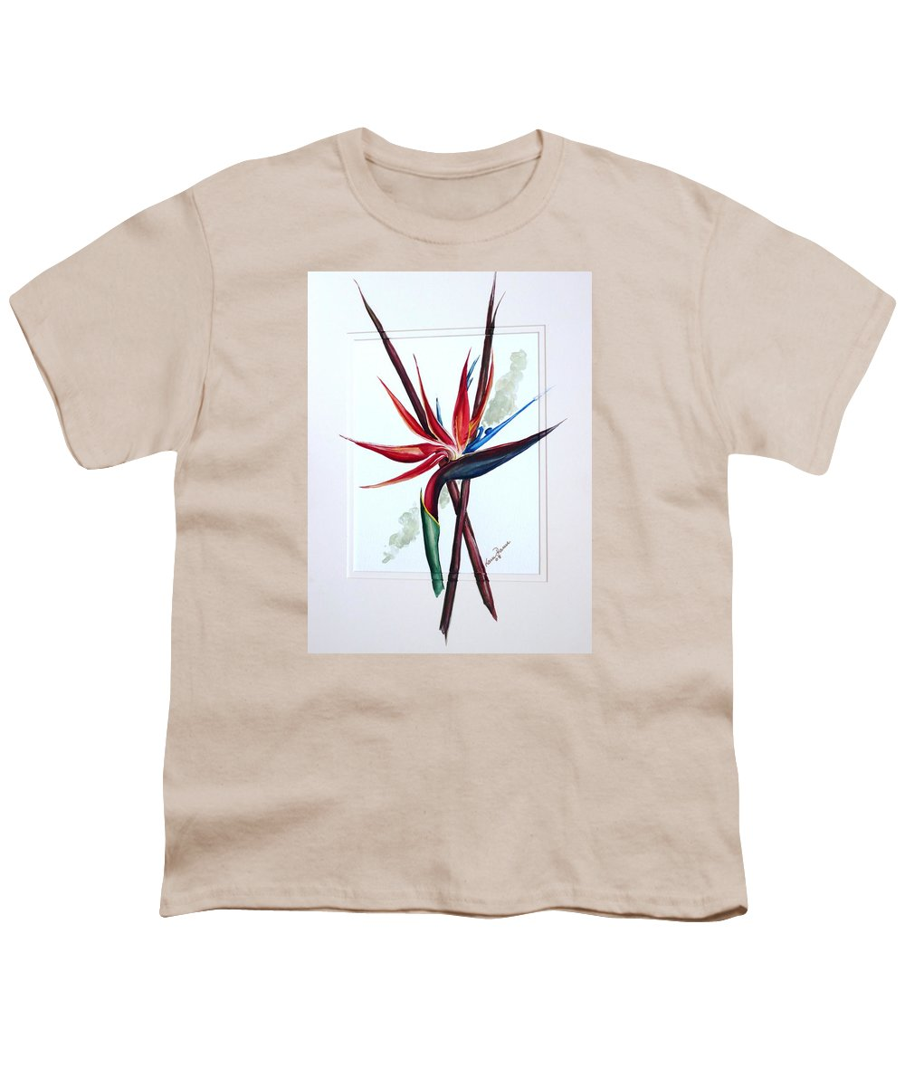 Floral Tropical Caribbean Flower Youth T-Shirt featuring the painting Bird Of Paradise Lily by Karin Dawn Kelshall- Best