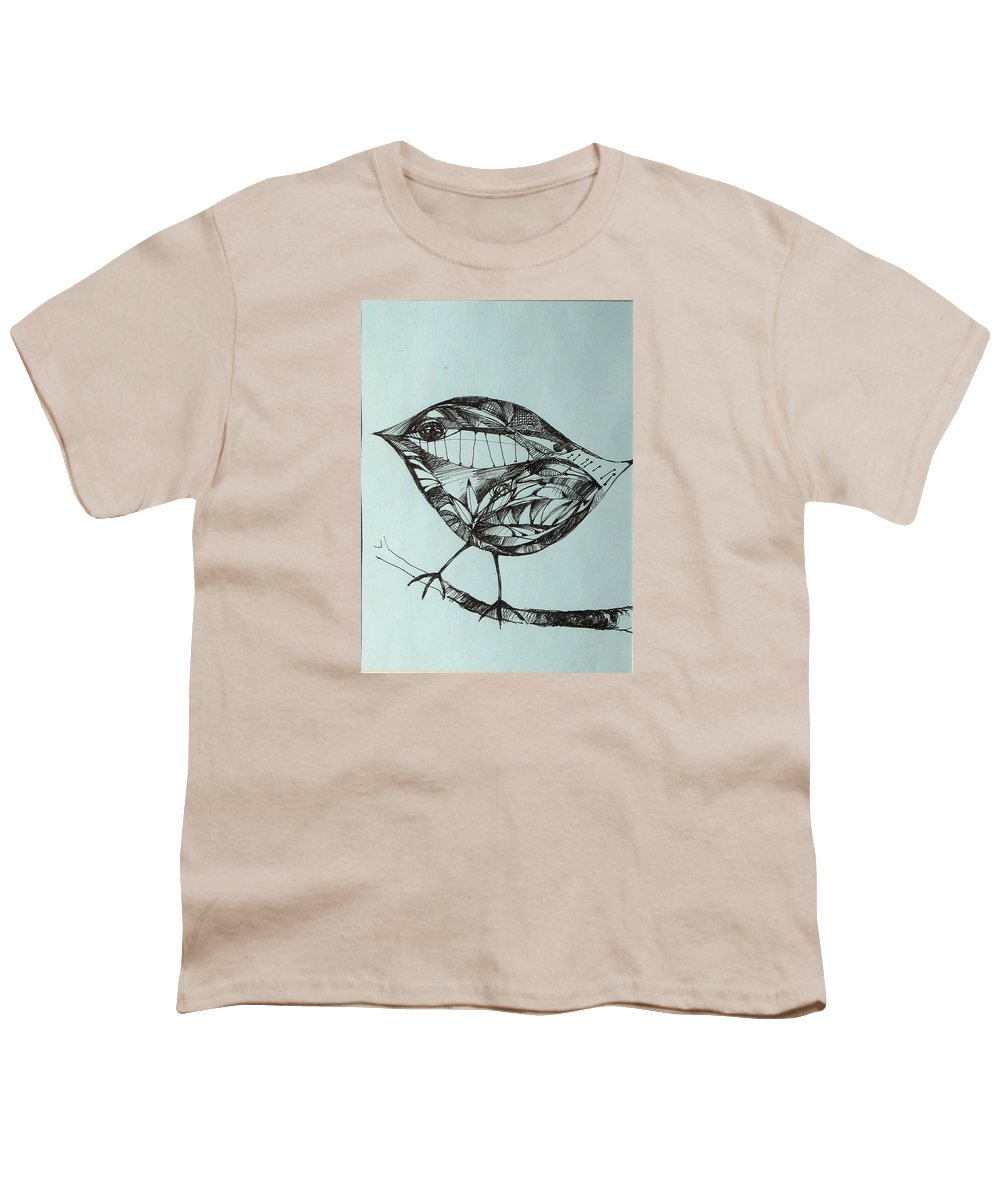Artwork Youth T-Shirt featuring the drawing Bird On A Brench by Cristina Rettegi