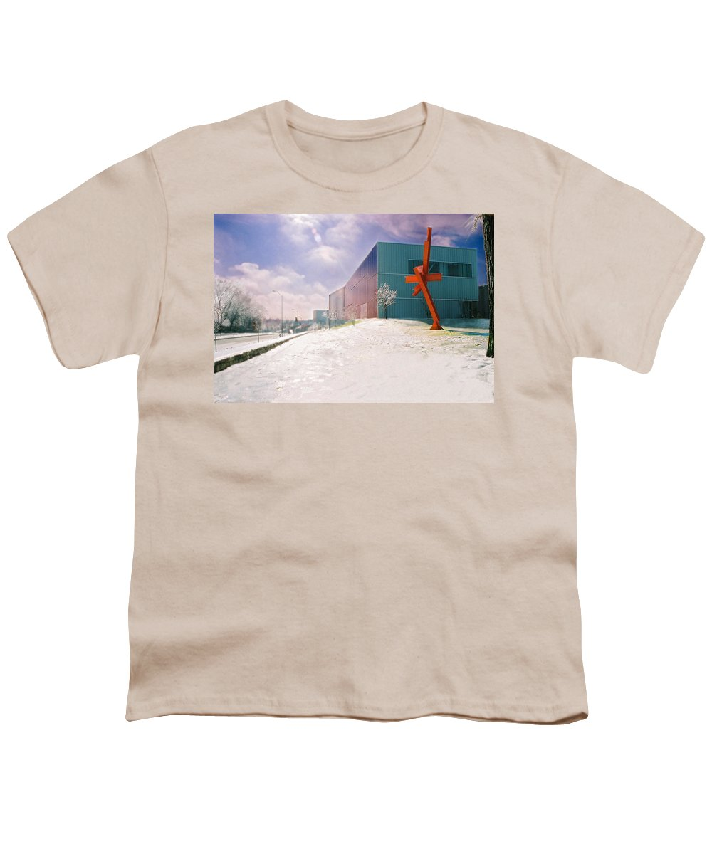 Landscape Youth T-Shirt featuring the photograph Bloch Building At The Nelson Atkins Museum by Steve Karol
