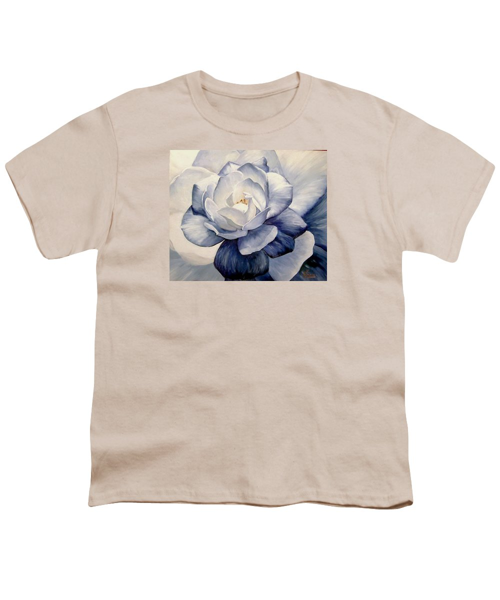 Flower Macro Nature Blue Gardenia Youth T-Shirt featuring the painting Blue by Natalia Tejera