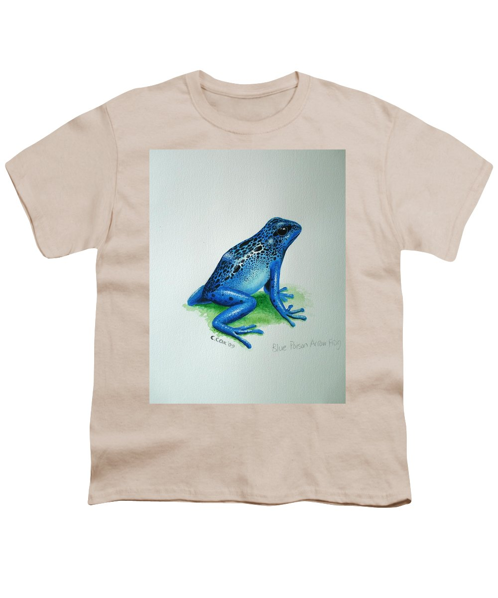 Poison Arrow Frog Youth T-Shirt featuring the painting Blue Poison Arrow Frog by Christopher Cox