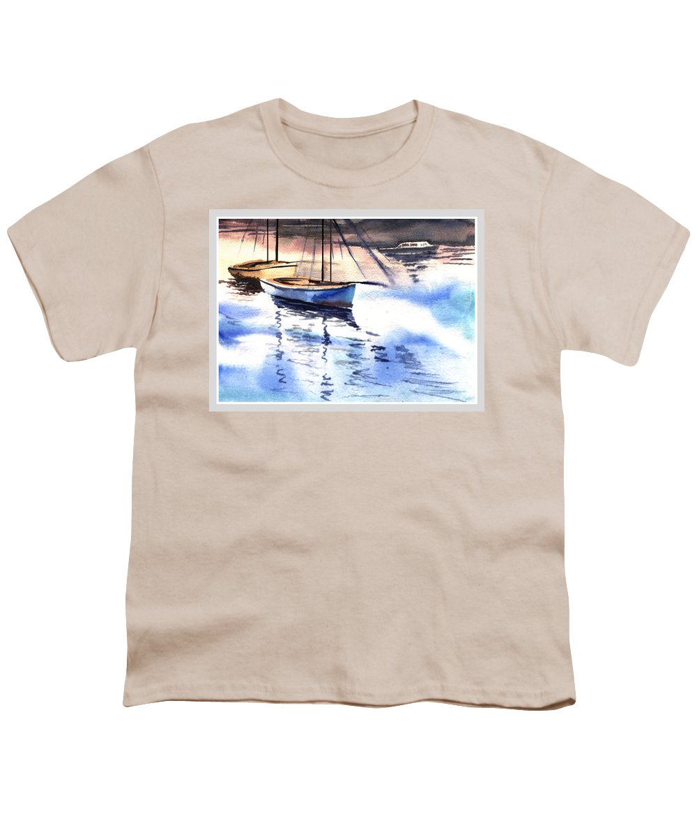 Watercolor Youth T-Shirt featuring the painting Boat And The River by Anil Nene