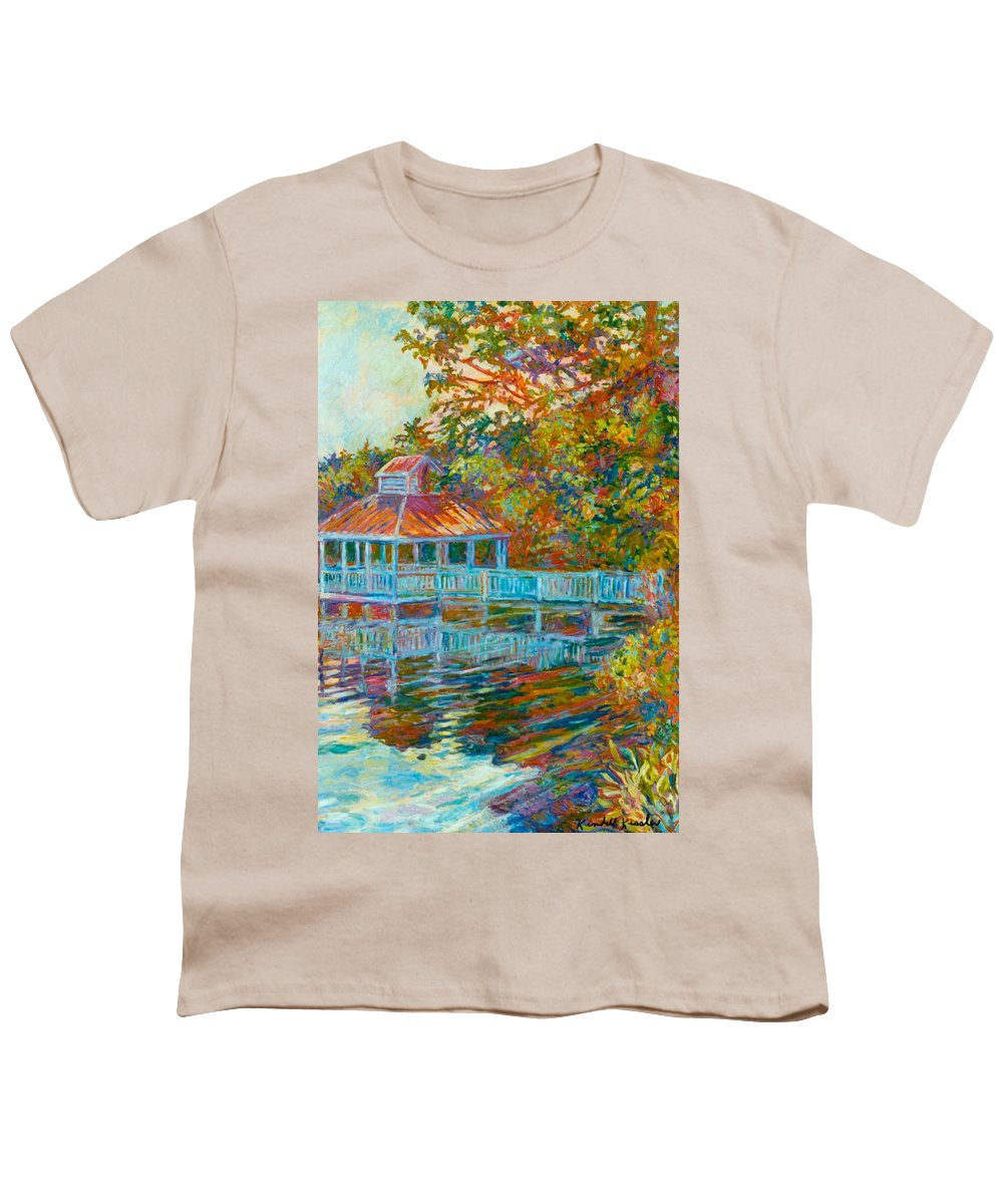 Mountain Lake Youth T-Shirt featuring the painting Boathouse At Mountain Lake by Kendall Kessler